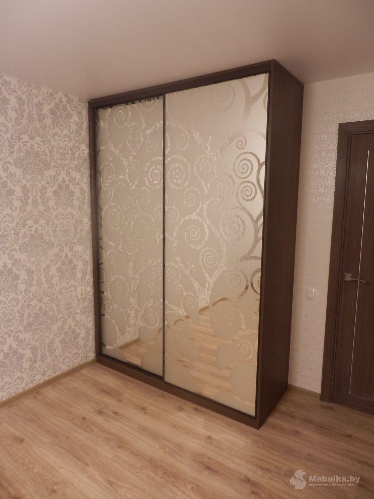 Шкаф-купе с пескоструйным рисунком на зеркале вид 1
