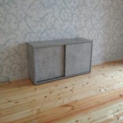 Шкаф бетон светлый и белое стекло (4)